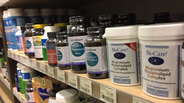 Different supplements brands of magnesium in a health store