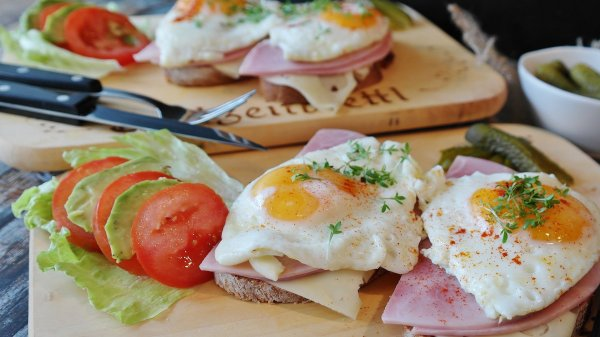 Fried eggs ham